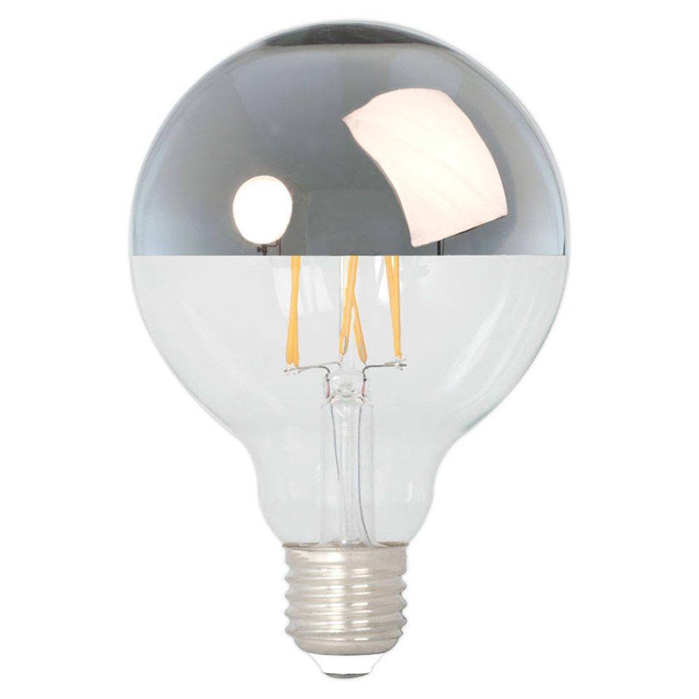 Calex globelamp kopspiegel LED filament 4W (vervangt 40W) grote fitting E27 zilver 95mm