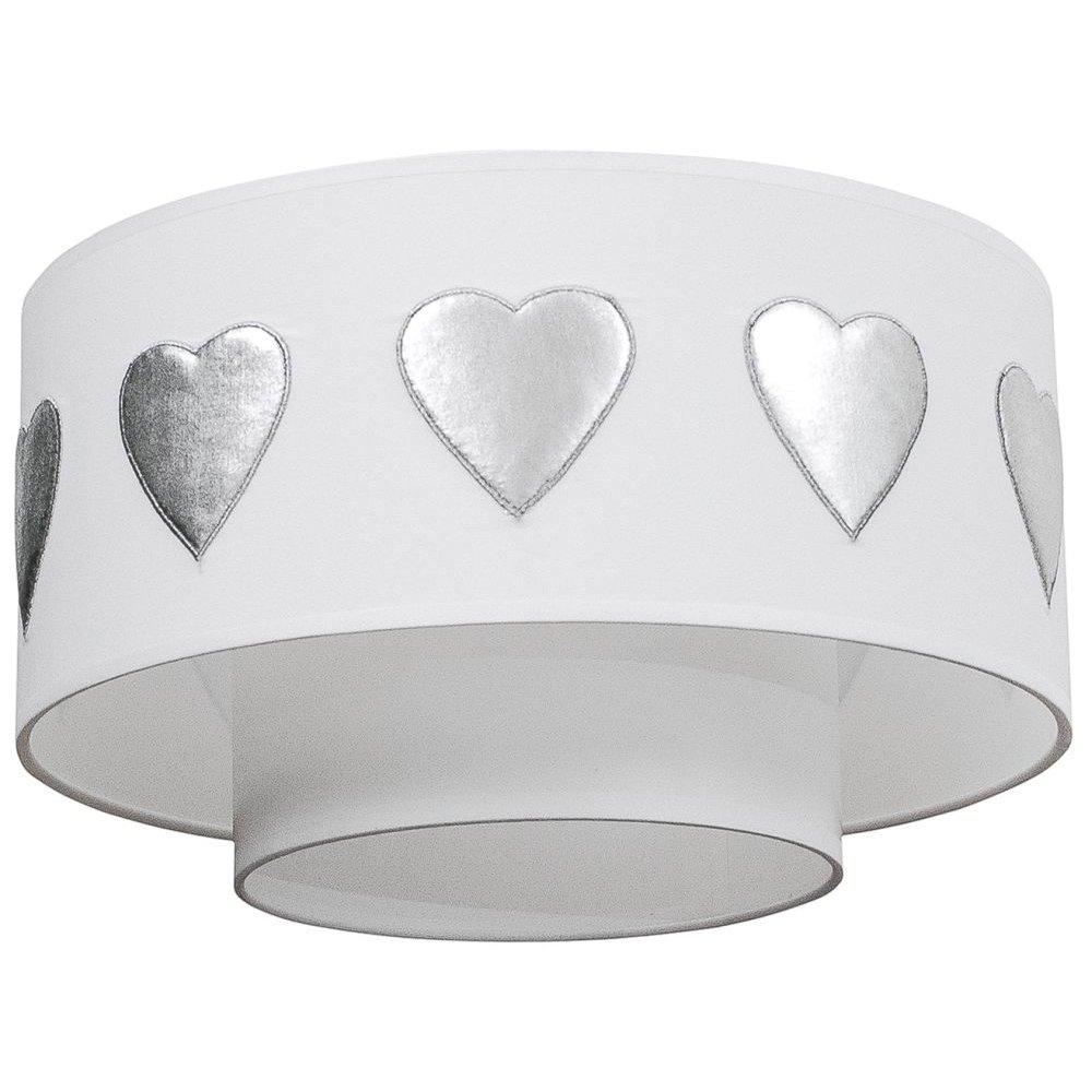 Taftan Plafondlamp Shade Hartjes Zilver Ta. LPC-508
