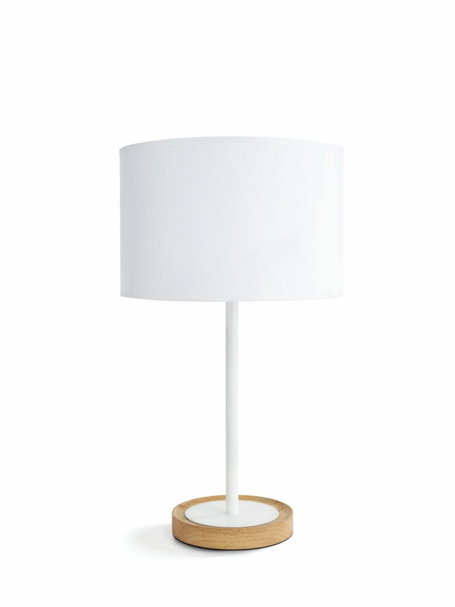 Textielen tafellamp Limba met houten voet